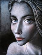 Modern Realism Oil Paintings - Blue eyes by Ipalbus Art