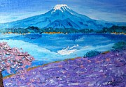 Sakura Paintings - Blue Face of Mt. Fuji by Eliza Donovan