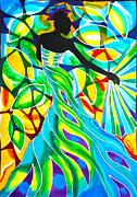 Silk Paintings - Blue Fan Dancer by Lee Vanderwalker