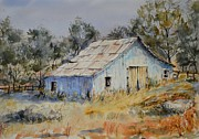 Shed Paintings - Blue Farm Shed by Daniel R Altman