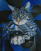 Cat Drawings Prints - Blue Feline Geometry Print by Pamela Clements