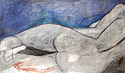 Figure Drawing Pastels Prints - Blue Figure Print by T Alyne