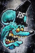Rat Fink Framed Prints - Blue Fink Framed Print by Vaughn Belak