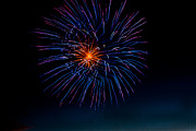 Yellow Fireworks Prints - Blue Firework Flower Print by Robert Bales
