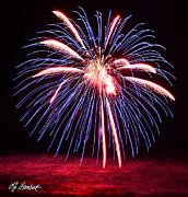 Blue Fireworks And Pink Ocean Print by Lj Lambert