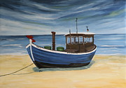 Christiane Schulze Painting Posters - Blue Fishing Boat Poster by Christiane Schulze