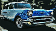 1957 Chevrolet Wagon Framed Prints - Blue Flames 57 Framed Print by Victor Montgomery