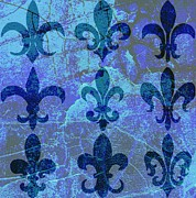 Coat Of Arms Digital Art - Blue Fleur de lis by Cynthia Edwards