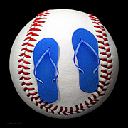 Baseball Seam Photo Metal Prints - Blue Flip Flops Baseball Square Metal Print by Andee Photography