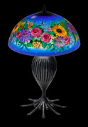 New York City Glass Art - Blue floral Lamp by Mikael  Darni