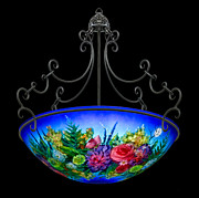 Lamps Glass Art - Blue Floral  by Mikael  Darni
