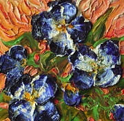 Paris Wyatt Llanso Prints - Blue Flower Cluster Print by Paris Wyatt Llanso