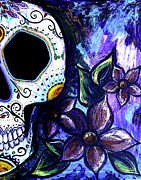 Gallacas Prints - Blue Flower Skull Print by Lovejoy Creations
