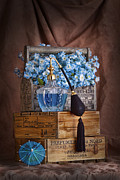 Fine Bottle Photo Framed Prints - Blue Flower Still Life Framed Print by Tom Mc Nemar