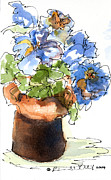 Bright Appearance Painting Prints - Blue Flowers Print by Barbara Wirth