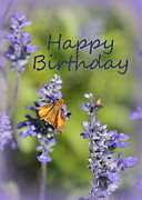 Birthday Card Prints - Blue Flowers Birthday Card Print by Carol Groenen