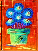 Surreal Framed Prints - Blue Flowers on Orange Framed Print by Eloise Schneider