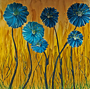 Drips Paintings - Blue Flowers by Ryan Burton