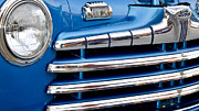 Custom Ford Metal Prints - Blue Ford Classic Grill Metal Print by Carolyn Marshall