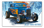 Oldzero Photos - Blue Ford Hotrod by Steve Benefiel