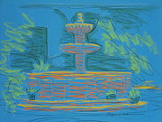 Magazine Pastels - Blue Fountain by Marcia Meade