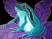 Frog Artwork Prints - Blue Frog purple flower Print by Nick Gustafson