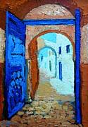 Blue Gate Print by Ana Maria Edulescu