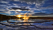 Pm Framed Prints - Blue Geyser Sunset Framed Print by Don Hall