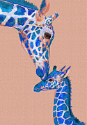 Baby Animals Acrylic Prints - Blue Giraffes 2 Acrylic Print by Jane Schnetlage