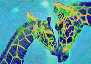 Giraffe Digital Art Framed Prints - Blue Giraffes Framed Print by Jane Schnetlage