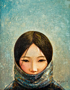 Tibet Framed Prints - Blue Girl Framed Print by Shijun Munns