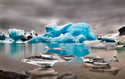 Arctic Ice Framed Prints - Blue glacier ice Jokulsarlon lagoon Framed Print by Dirk Ercken