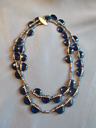 Featured Jewelry - Blue glass necklace vintage shell button by Jan Durand
