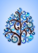 Tree Art Mixed Media - Blue Glass Ornaments by Anastasiya Malakhova