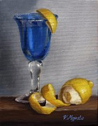Peel Paintings - Blue Glass with Lemons by Viktoria K Majestic