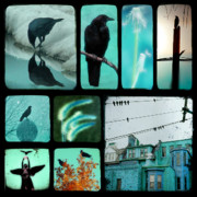Passerines Posters - Blue Poster by Gothicolors And Crows