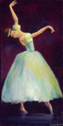 Ballerina Paintings - Blue grace by Desiree  Rose