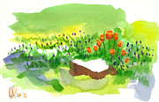 Nature Scene Paintings - Blue Grape Hyacinths with Red Tulips and Tree Stump by Kip DeVore