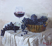Blue Grapes Painting Posters - Blue Grapes and Wine Poster by Ylli Haruni