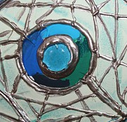 Cynthia Snyder Prints - Blue Green and Gold Circle Print by Cynthia Snyder