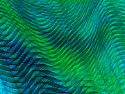 Transparent Fabric Posters - Blue Green Fabric Abstract Poster by Jane McIlroy