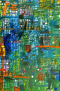Drips Painting Originals - Blue green grid by Regina Valluzzi