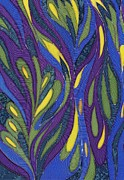 Blue Purple Paintings - Blue Green Purple Abstract Silk Design by Sharon Freeman