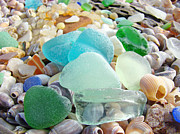 Agate Beach Posters - Blue Green Sea Glass Beach Coastal Seaglass Poster by Baslee Troutman Coastal Art Prints