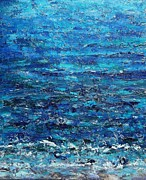 Semi Abstract Paintings - Blue Green Sea by Nikki Wheeler