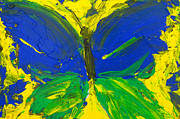 Girl Room Prints - Blue Green Yellow Butterfly Print by Patricia Awapara