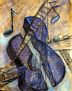 Pablo Picasso Mixed Media Prints - Blue Guitar - about Pablo Picasso Print by Errol  Jameson
