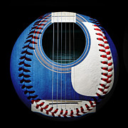 Catch Mixed Media Framed Prints - Blue Guitar Baseball Square Framed Print by Andee Photography