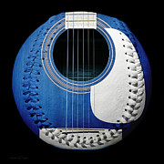 Baseball Art Mixed Media Posters - Blue Guitar Baseball White Laces Square Poster by Andee Photography