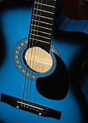 Guitar Stings Prints - Blue Guitar Print by Carol Groenen
